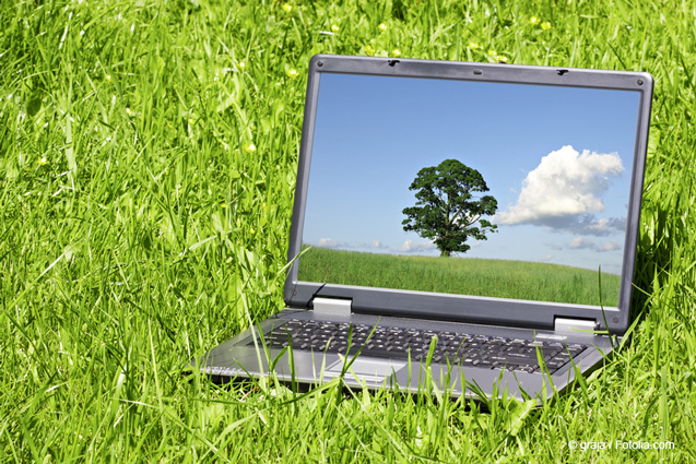 A notebook in the grass illustrates that modeling programs can be used to calculate the total amount of nanomaterial in the environment. © graja / Fotolia.com